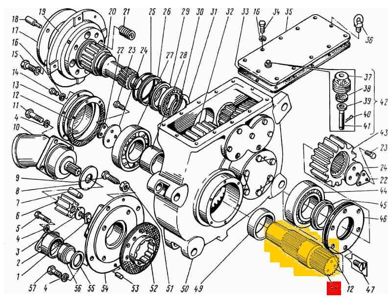 Вал редуктора поворота ЭО-5122.01.17.002