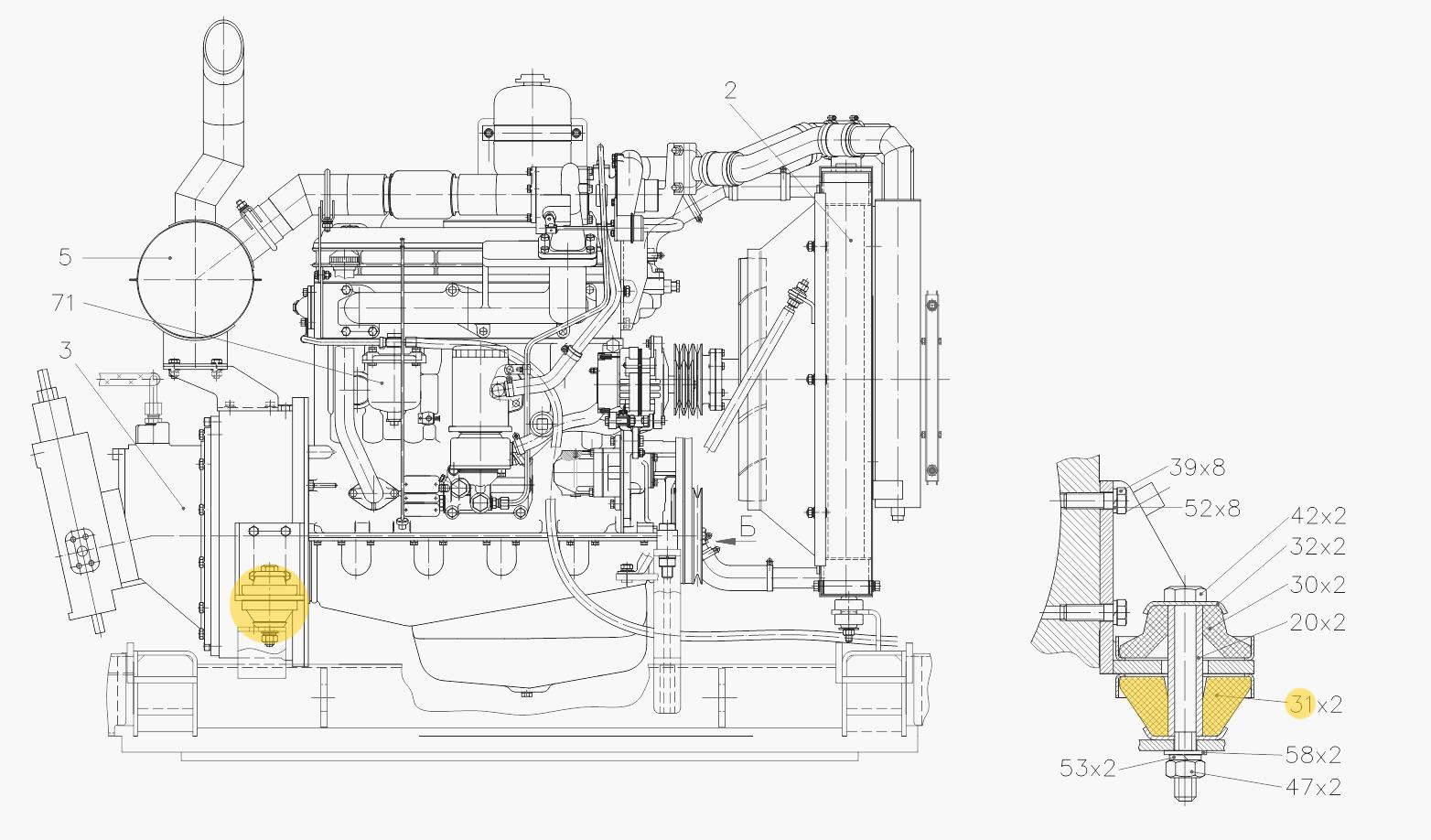 Подушка двигателя 312-40-04.00.001