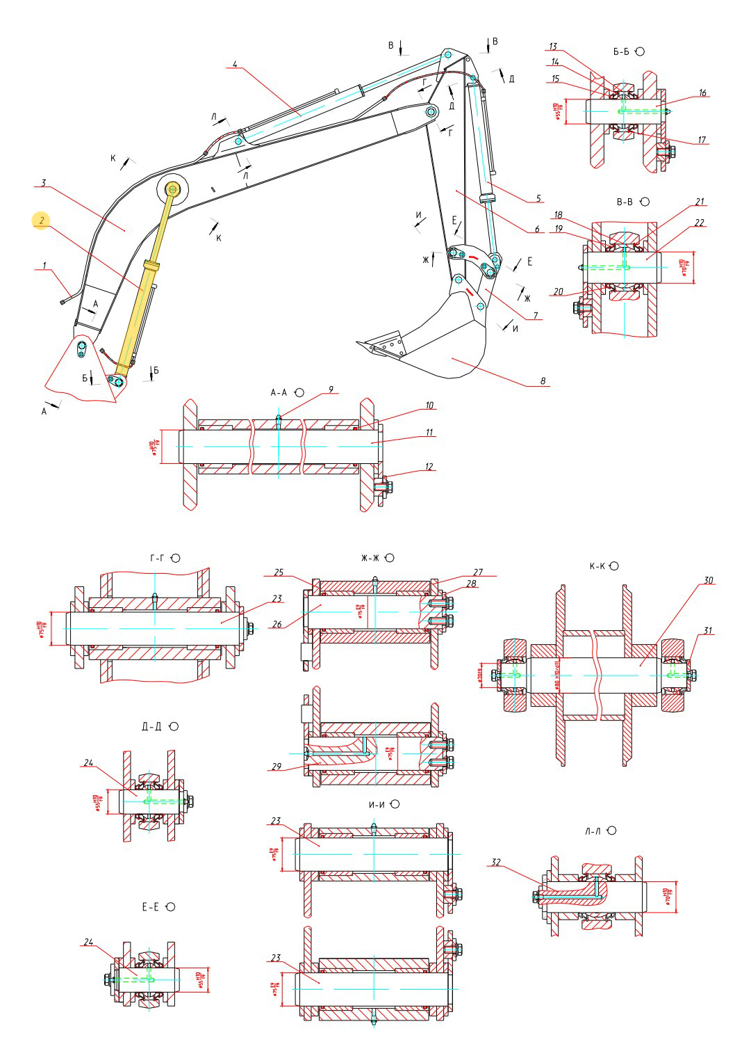 Гидроцилиндр стрелы 100-63-10.02.000
