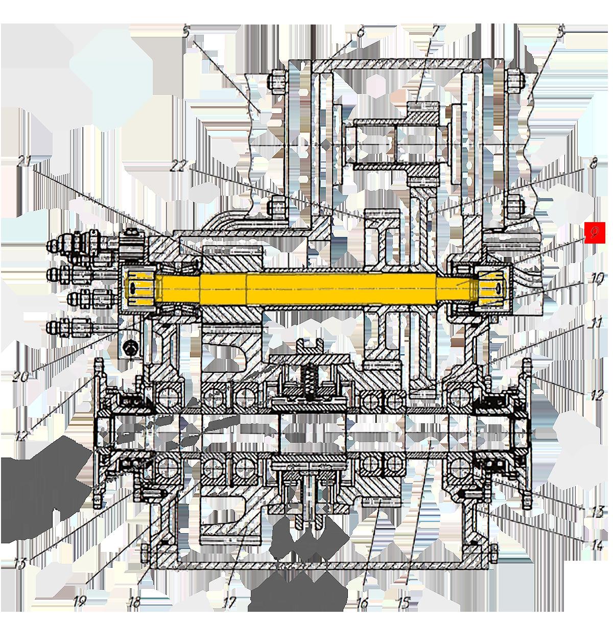 Вал промежуточный Э20.01.02.086-1 коробки передач ЭО-33211