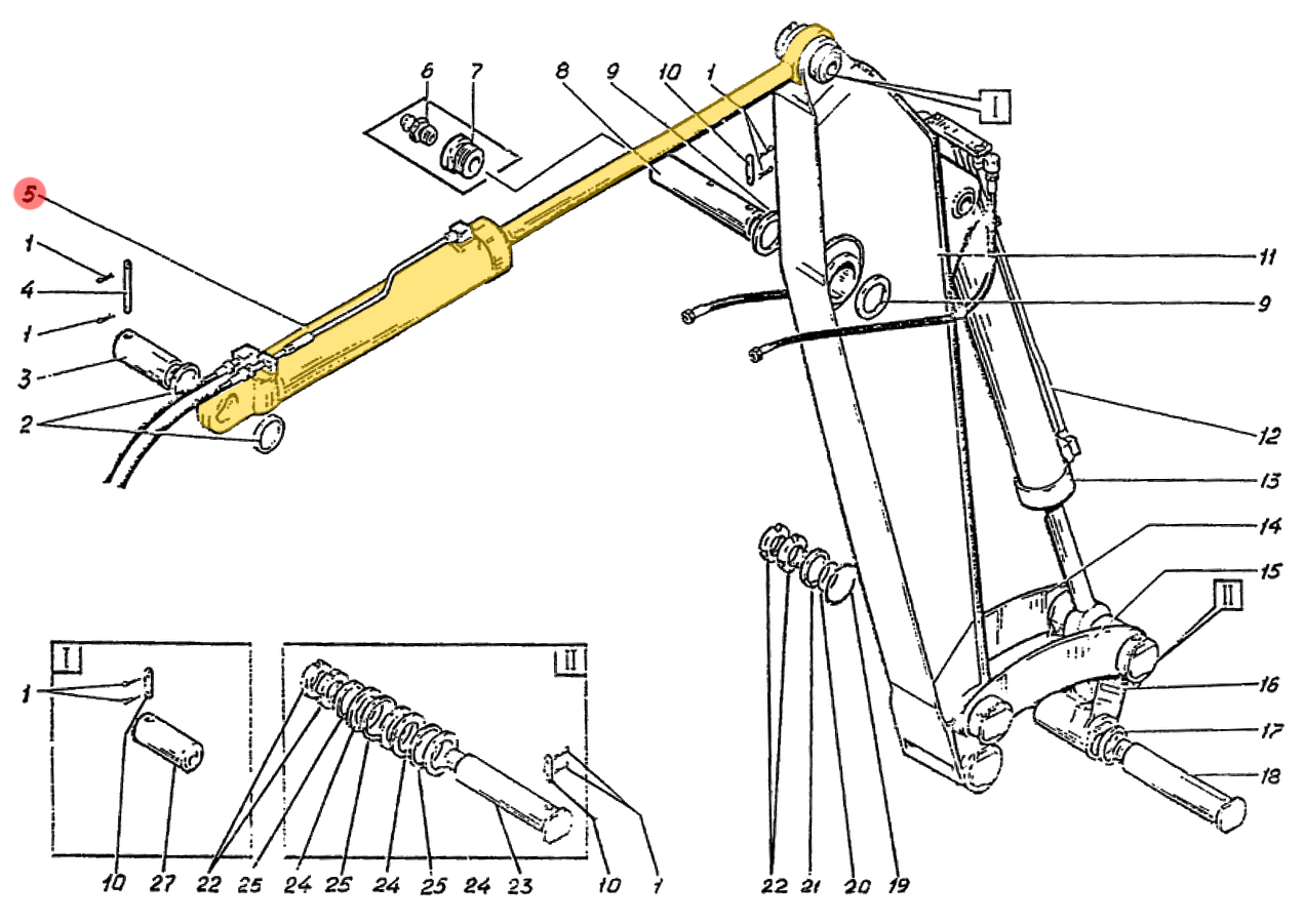 Гидроцилиндр рукояти Э4.05.30.001сб-2