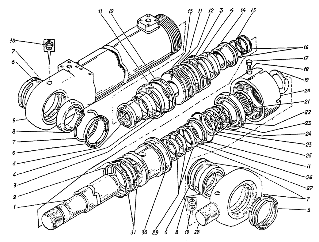 Гидроцилиндр рукояти ЭО-5126.29.08.0003сб